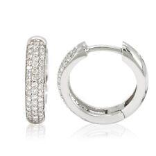 14k White Gold Diamond Huggies, 0.50tdw (NEW hoop earrings, 17.0mm x 3.8mm) 4448