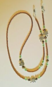 ! TROPICAL PALM TREE AND PEARLS EYEGLASS CHAIN  MADE WITH SWAROVSKI CRYSTALS !!