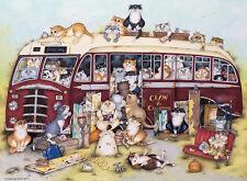 NOUVEAU! Ravensburger Crazy chats sur le coach voyage par Linda Jane Smith 500 Jigsaw