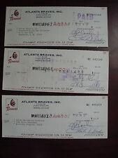 Lot of 3 Vintage 1972 Atlanta Braves Cancelled Checks