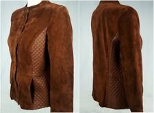 Womens Jacket Size 12 Isaac Mizrahi Live Brown Suede Quilted Leather Zip Front