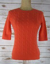 RALPH LAUREN BLACK LABEL Orange Cashmere Short Sleeve Sweater Career S Small
