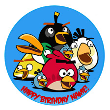 Angry Birds Personalised Edible Kids Party Cake Decoration Topper Round Image