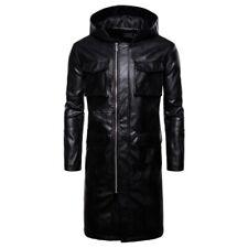 Men's Slim Fit Hooded Leather Windbreaker Trench Coat Motorcycle Biker Outwear