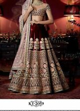 Beautiful Party Wear DesignerMarron Color Bridal Unstitched Lehenga Choli
