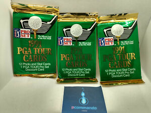 1991 Pro Set PGA Tour Golf Trading Card Packs - 3 x Sealed Packets