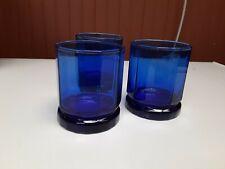 Vintage Anchor Hocking Old Fashioned Tartan Cobalt Blue Rocks Glasses Set of 3