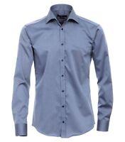 VENTI - Slim Fit - Bügelfreies Herren Langarm Hemd mit Haifisch Kragen (001800)