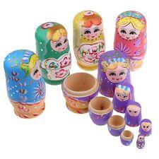 5Stück/Set Russische Matroschka Babuschka Matrjoschka Hand Bemalt Holz Puppe