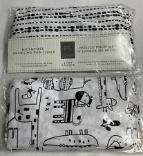 New listing Peanut Shell Changing Pad Cover 2 Pack Black And White Safari Print