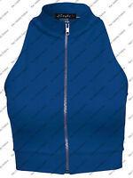 New Women Ladies Polo Zip Turtle Neck Crop Vest Top Tee T Shirt Size 8 10 12 14