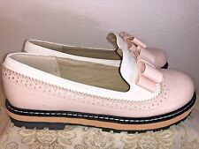 Pixie Cove Pink White Loafers 2 tone with bow Size 38 Eu -- 7 US Woman's