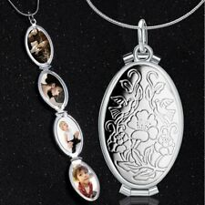 4 Photo Retro Silver Locket Charm Oval Carved Flower Memorial Pendant Necklace