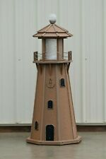 4 Foot Octagon Electric and Solar Powered Poly Lighthouse, Antique Mahogany