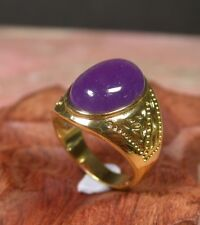 Yellow Gold Plate Lavender JADE Cabochon RING US NO.7.75. 9.25 10.50 # 254904