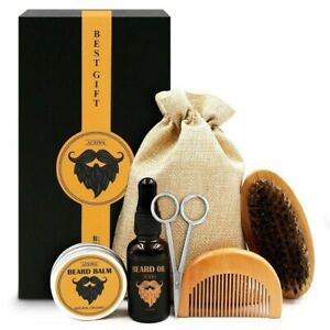 Beard Grooming Trimming Kit for Men Beard Brush, Comb, Unscented Oil Wax Scissor