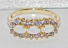 Wunderschön 9 karat Gelb Natürlich Opal & Tansanit Damen Haufen Ring - size L