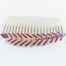 Hair Comb Hairpin use Swarovski Crystal Elegant Charming Leaf Gold HOT PINK Z30