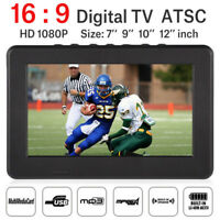 Portable 7/9/10/12Inch TFT LED TV 16:9 Outdoor Television Digital TV HDMI Lot JS