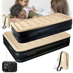 Inflatable High Raised Mattress AirBed Builtin Electric Pump Single Double