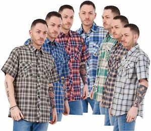 Mens Regular Big Size Shirts Checked Cotton Blend Casual Short Sleeve Blue M-5XL
