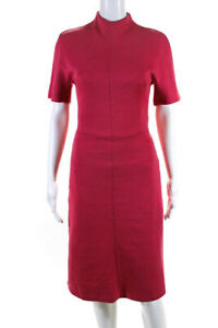 Carven Womens Short Sleeve Knee Length A-Line Dress Pink Size X-Small