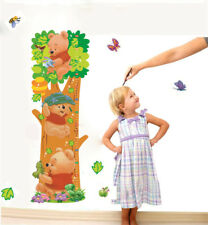 Pooh Cartoon Wall Stickers Trees Bear Height Measure For Kids Room Wall 3D Decal