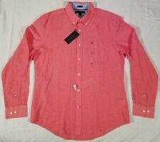New Tommy Hilfiger Long Sleeve Button Up Shirt Men's Medium Cotton/Linen NWT