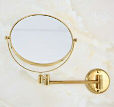 Gold Color Brass Bathroom Shaving Beauty Makeup Magnify Mirror Dual Side fba632