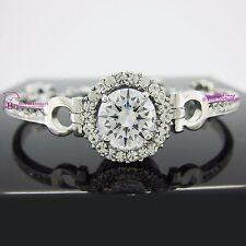 Real Women Girl Solid 18k White Gold GF Bracelet Bangle Chain Clasp Lab Diamonds