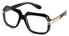 Gloss Black Gold Retro Nerd Sun-Glasses Rapper DJ square clear lens
