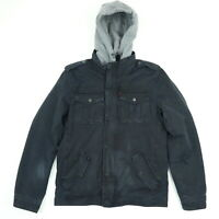 LEVIs Sherpa Lined Canvas Chore Coat Jacket SMALL Faded Black Removable Hoodie