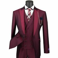 VINCI Men's Burgundy Jacquard 3pc 1 Button Slim Fit Suit w/ Matching Vest NEW