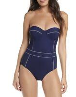 NWT Tory Burch Lipsi Trimmed One-Piece Swimsuit sz L blue NWT