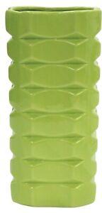 30cm Tall Ceramic Vase Lime Green Geometric Design Square Decorative Flower Vase