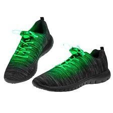25 Pairs Green LED Shoelaces Light Up Fibre Glow Flashing Luminous Shoe Party UK
