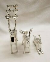 Christmas Holiday Reindeer Candelabra Candle Holders Bundle Set of 3