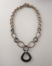 "Stephen Dweck Black Agate Necklace Bronze Beaded Links 22"" Graduated"