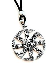 Slavic Sun Wheel 8 Leg Kolovrat Pendant Nordic Corded Necklace Jewellery
