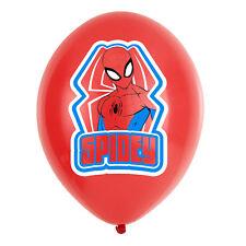 6 x Spiderman Red & Blue Balloons Spiderman Spidey Birthday Parry Supplies