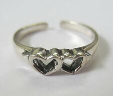 Sterling Silver Adjustable Toe Ring 2 Heart Design Solid 925 Oxidized Jewelry