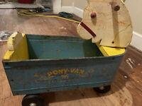 RARE Vintage 1950's Towner Toys Van Metal & Wood Ride On Pull Toy