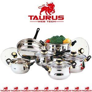 12 x Stainless Steel Cookware Set Saucepan Pot KITCHEN Cook Frypan UK FREE P&P