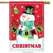 "Merry Christmas Pals House Flag Snowman Primitive 28"" x 40"" Briarwood Lane"