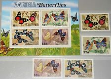 ZAMBIA SAMBIA 1980 229-32 Block 10 220-23a Schmetterlinge Butterflies Insect MNH