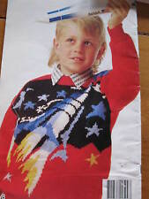 kids knitting pattern rocket jumper 6-10 years 5 ply