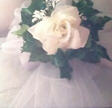 WHITE BOWS SET OF 10 WITH ROSES