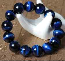 14mm Natural Blue Tiger's Eye Gemstone Beads Charming Bracelet 7.5''