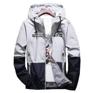 Men's Jackets Hip Hop Windbreaker Hooded Casual Zipper Male Vintage Streetwear