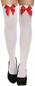 Ladies Thigh High Hold Up Stocking With Red Bow Womens Party Costume Accessory